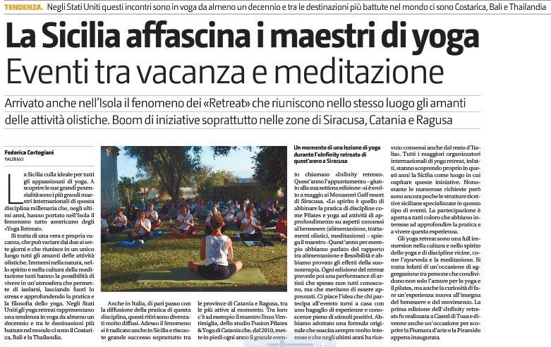 L'Infinity retreat sul Giornale di Sicilia