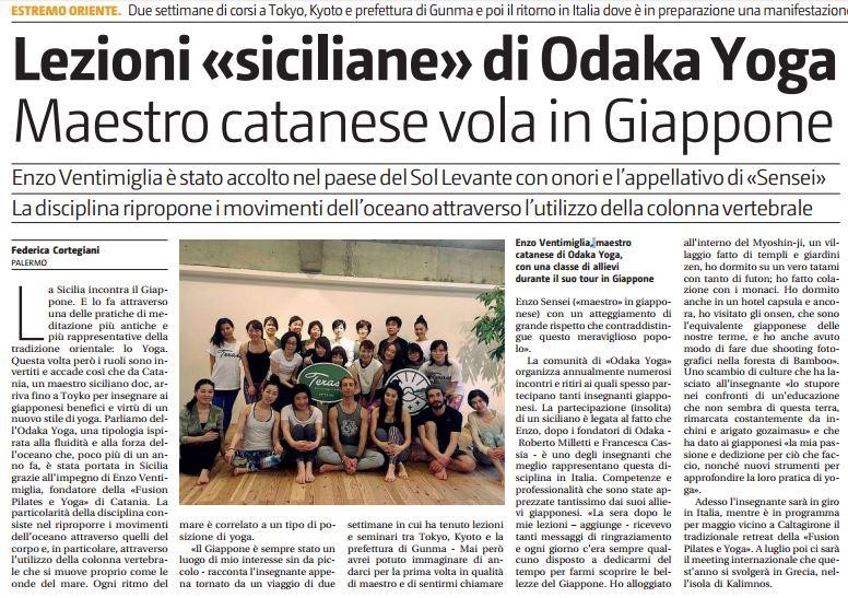Articolo del Giornale di Sicilia sullo yoga tour in Giappone di Enzo